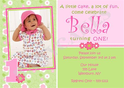 girl 1st birthday invitation photo card diy print by