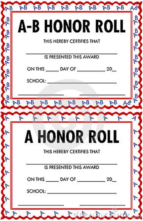 a b honor roll certificate template honor roll certificate clipart