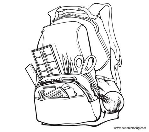coloring supplies school supplies coloring pages with school bag free