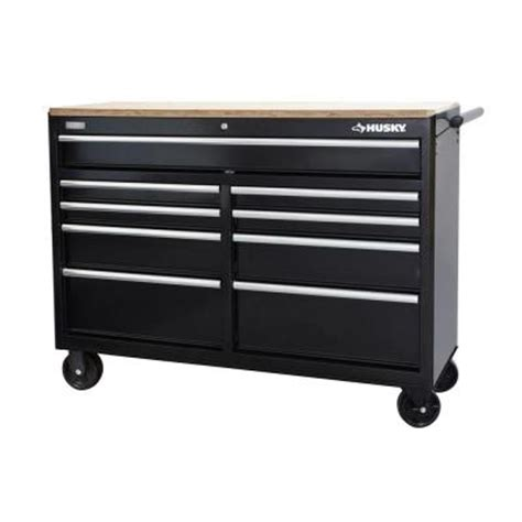 husky 52 in 9 drawer mobile workbench with solid wood top