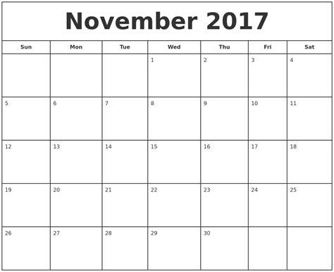 Calendar 2017 Nov November 2017 Print Free Calendar