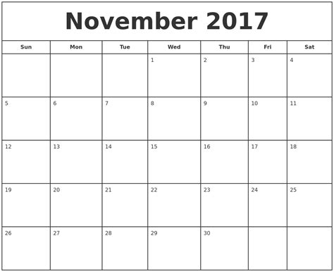 printable free november 2017 november 2017 print free calendar