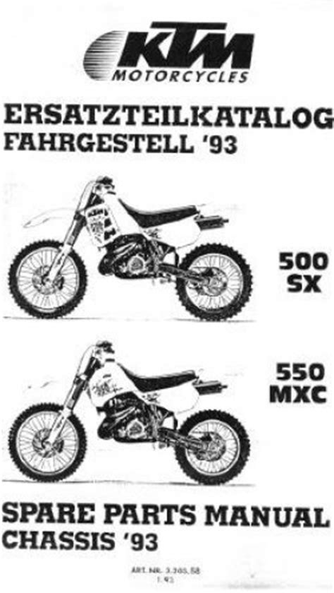 Ktm Spareparts 1993 Ktm 500sx 550mxc Chassis Spare Parts Manual