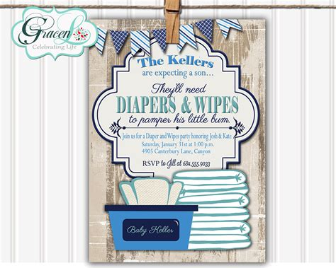 Baby Boy Shower Invite Wording by Baby Shower Invitation Diaper And Wipes Baby Shower