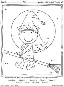 halloween coloring pages math spooky subtraction math printables color by the code