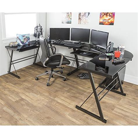 Walker Edison Soreno 3 Piece Corner Desk Black With Black Walker Edison Soreno 3 Corner Desk