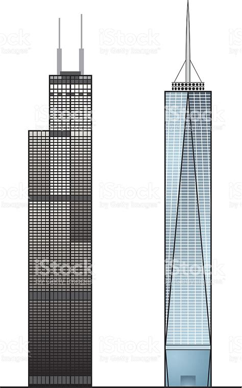 Twin Towers Floor Plans by Willis Sears Tower One World Trade Center Stock Vector Art