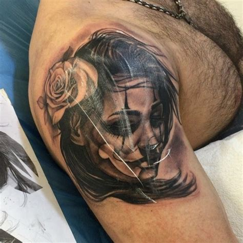mexican rose tattoo black ink shoulder of mexican style portrait
