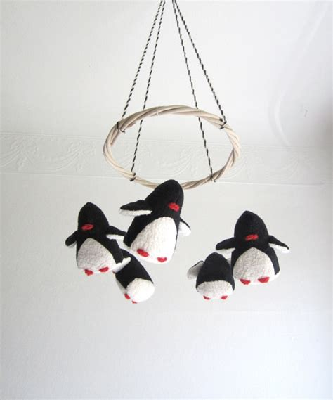 Black Crib Mobile by Baby Mobile Penguins Baby Black White Nursery Decor