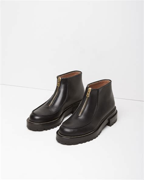 front zip ankle boots lyst marni zip front leather ankle boots in black
