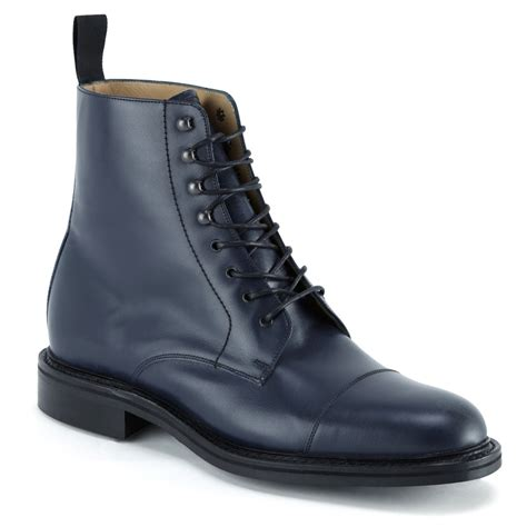 Mens Handmade Leather Boots - handmade mens ankle leather boots navy blue leather