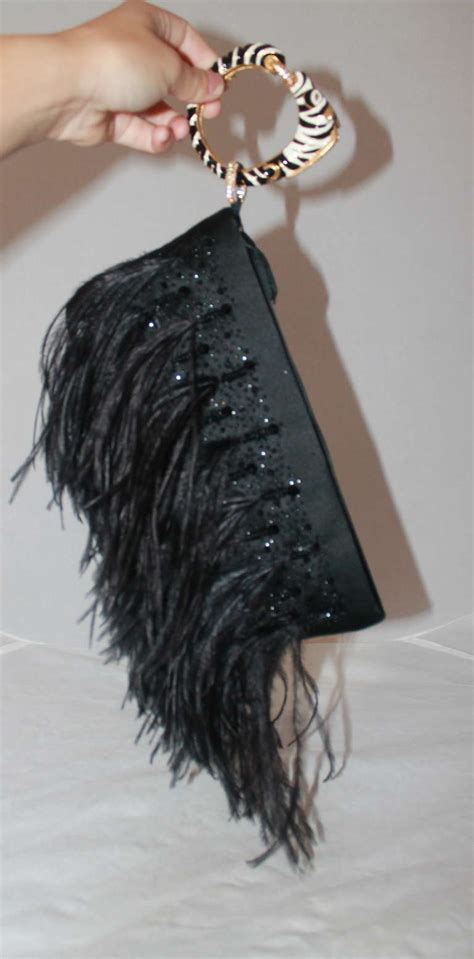 Valentino Feather Clutch by Valentino Black Ostrich Feather Clutch At 1stdibs