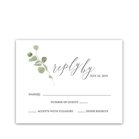 wedding response cards eucalyptus wedding program watercolor greenery design