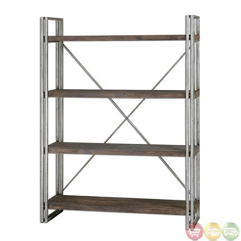 etagere metall greeley industrial design weathered silver metal etagere 24396