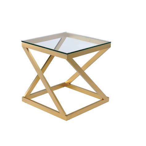 Gold Table L Furniture Of America Emondee Square Metal Glass Top End Table In Gold Idf 4121e