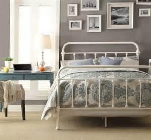 Vintage White Metal Bed Frame Antique White Iron Metal Beds Bed Frame Frames Bedroom Furniture Ebay