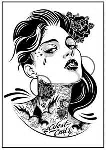 pin up smoking tattoo stencil