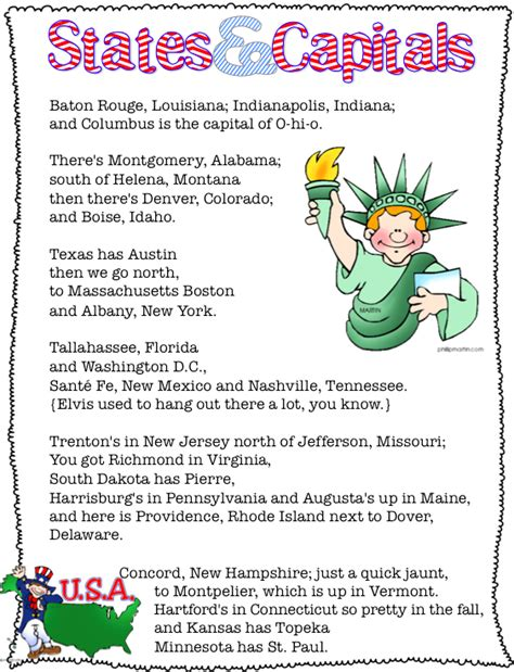 states capitals song free printable living laughing