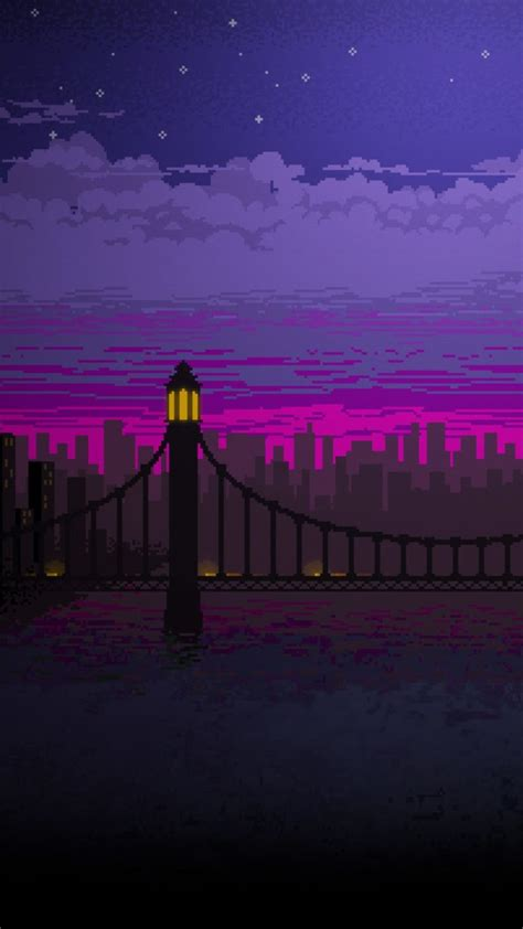 pixel art bridge night cc wallpaper