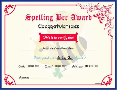 spelling bee award certificates for ms word word