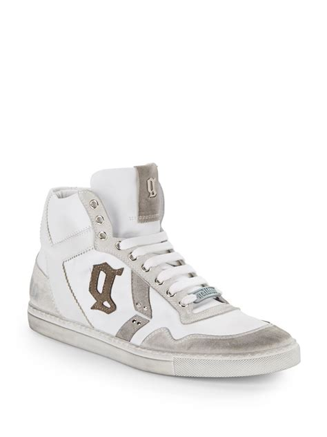 galliano sneakers galliano leather suede high top sneakers in white