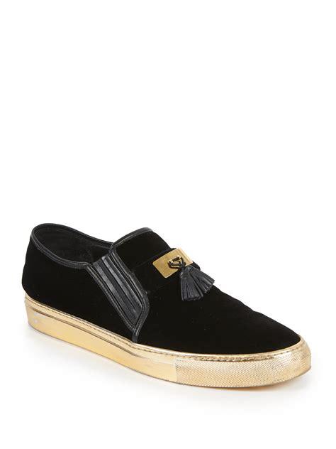balmain mens sneakers balmain tasseled velvet slip on sneakers in black for