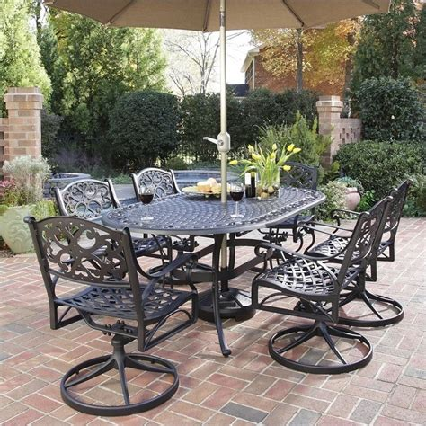 Outdoor Dining Sets Black 7 Metal Patio Dining Set In Black 5554 3358