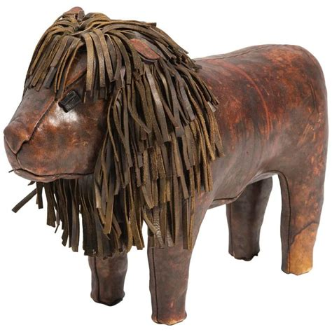 ottoman the lion dimitri omersa leather lion footstool at 1stdibs