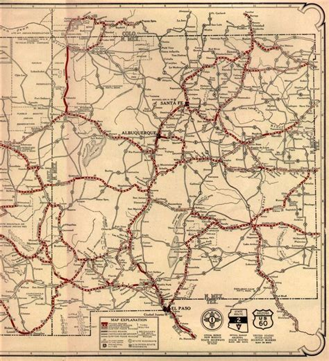 road map of texas and new mexico route 66 on 1926 az nm map route 66 nm tx az ca west highway map vintage and