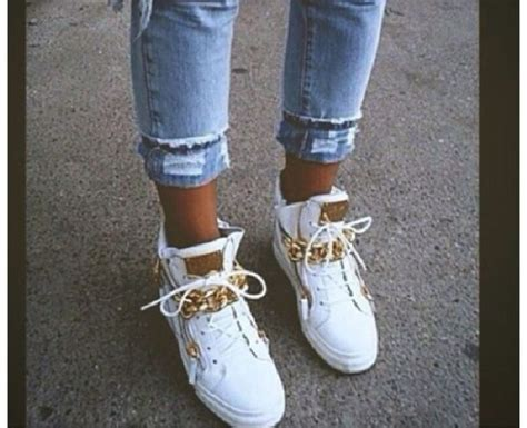 shoes white shoes gold applications swagetti