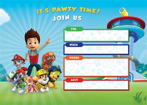 printable birthday card paw patrol free printable paw patrol birthday invitations basic diy