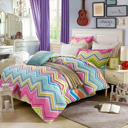 red and light blue bedroom pink lime and light blue bright colorful zigzag stripe