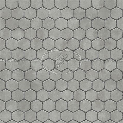 Concrete paving outdoor hexagonal texture seamless 06000