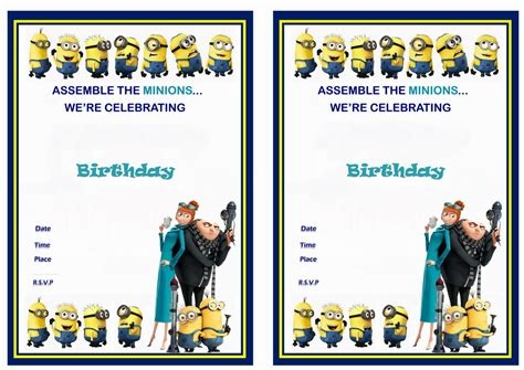 Printable Birthday Invitations Despicable Me | despicable me birthday invitations birthday printable
