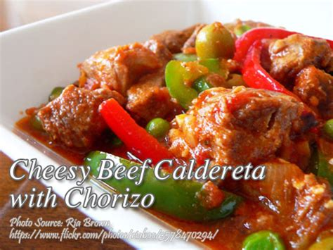printable pinoy recipes cheesy beef caldereta with chorizo panlasang pinoy meat