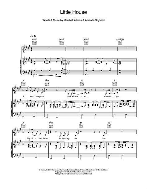 little houses song little house sheet music by amanda seyfried piano vocal