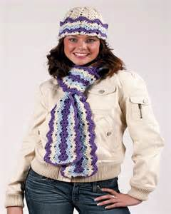 Free ripple hat and scarf crochet pattern from redheart com