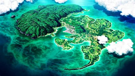 Anime Island by Clouds Nature Trees Eureka Seven Islands