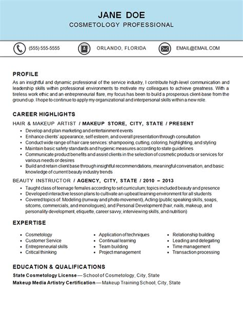 cosmetology resume exle hair makeup