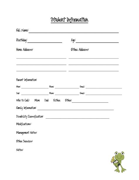 student information sheet template for teachers august 2012 the eager
