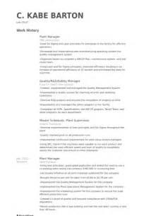 Plant Superintendent Sle Resume by Directeur De L Usine Exemple De Cv Base De Donn 233 Es Des Cv De Visualcv