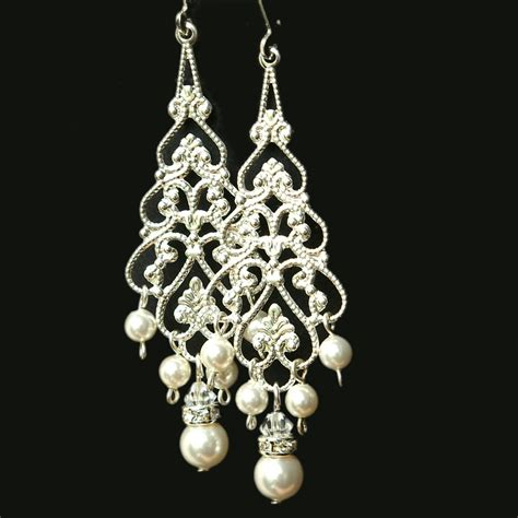 Bridal Chandelier Earrings With Pearls Pearl Chandelier Bridal Earrings Silver Filigree Dangly