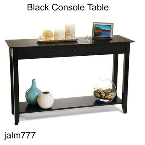console table with drawers and shelves american heritage console table black drawer shelf sofa bedroom livingroom convenienceconcepts