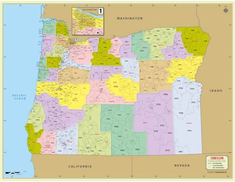 zip code map oregon buy printed oregon zip code map with counties zip code map