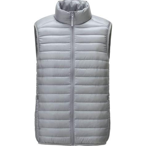 ultra light down vest uniqlo gray men ultra light down vest for men lyst