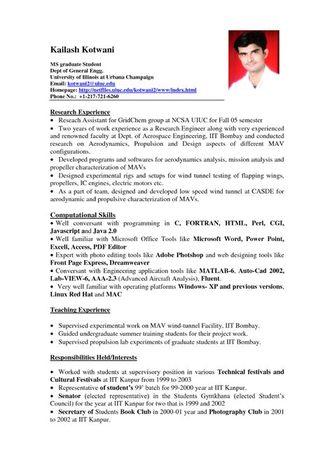 template of resume sle resume format for students sle resumes