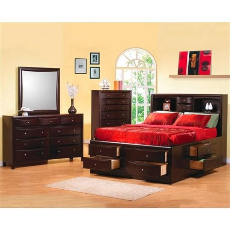 bedroom sets phoenix coaster phoenix bookcase storage bed 3 piece bedroom set