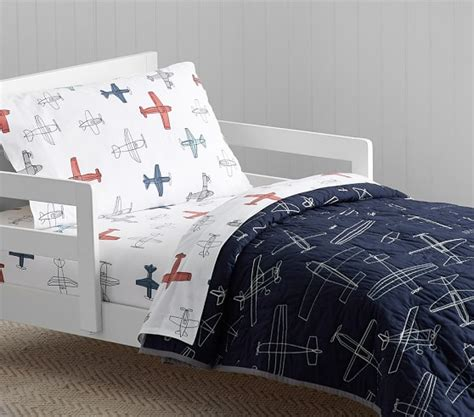 airplane toddler bedding braden airplane quilted toddler bedding pottery barn kids