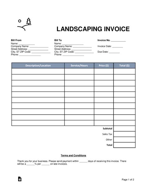 Landscaping Bill Template Free Landscaping Invoice Template Word Pdf Eforms Free Fillable Forms
