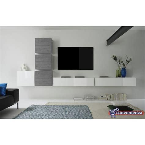 mensole rovere grigio cube 8 e parete attrezzata moderna colore bianco lucido e